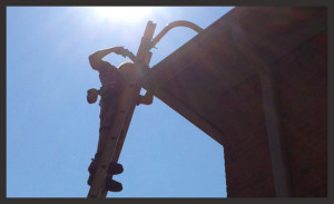 Man On Ladder, Gutterco - Columbus Ohio Gutters